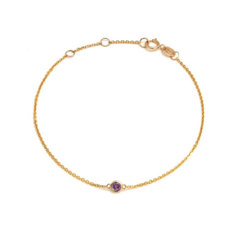 14k Yellow Gold Bezel Set Amethyst Bracelet