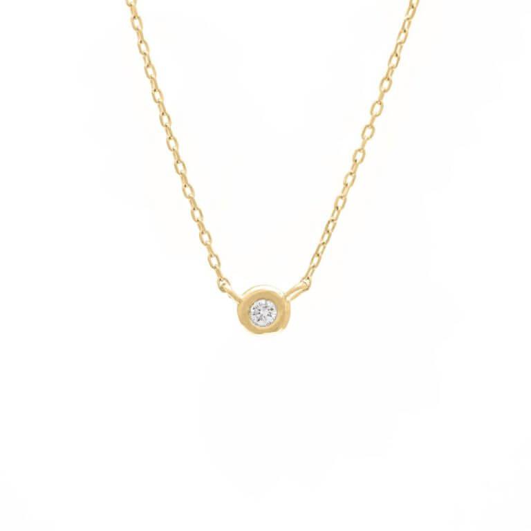 14k Yellow Gold Bezel Set Round Diamond Necklace