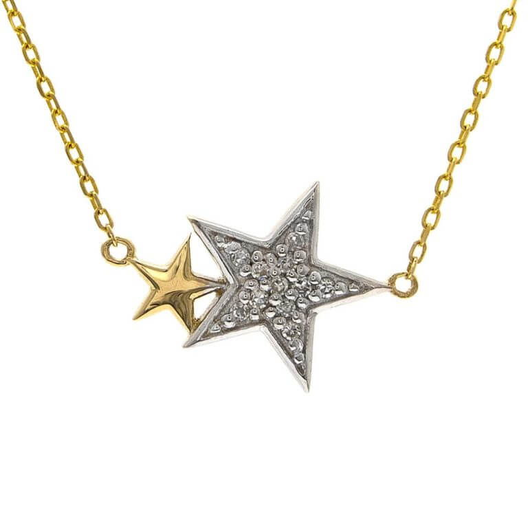 Yellow Gold and Single Pave Diamond Star Necklace
