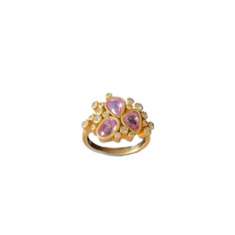 Pink Sapphire & Diamond Firework Ring