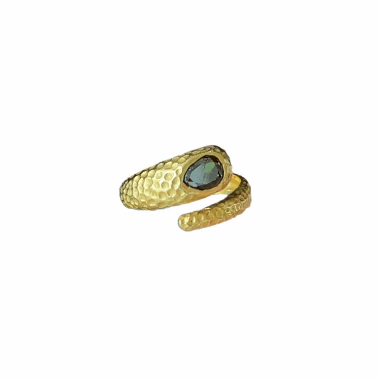 Brown Diamond Hammered Snake Ring