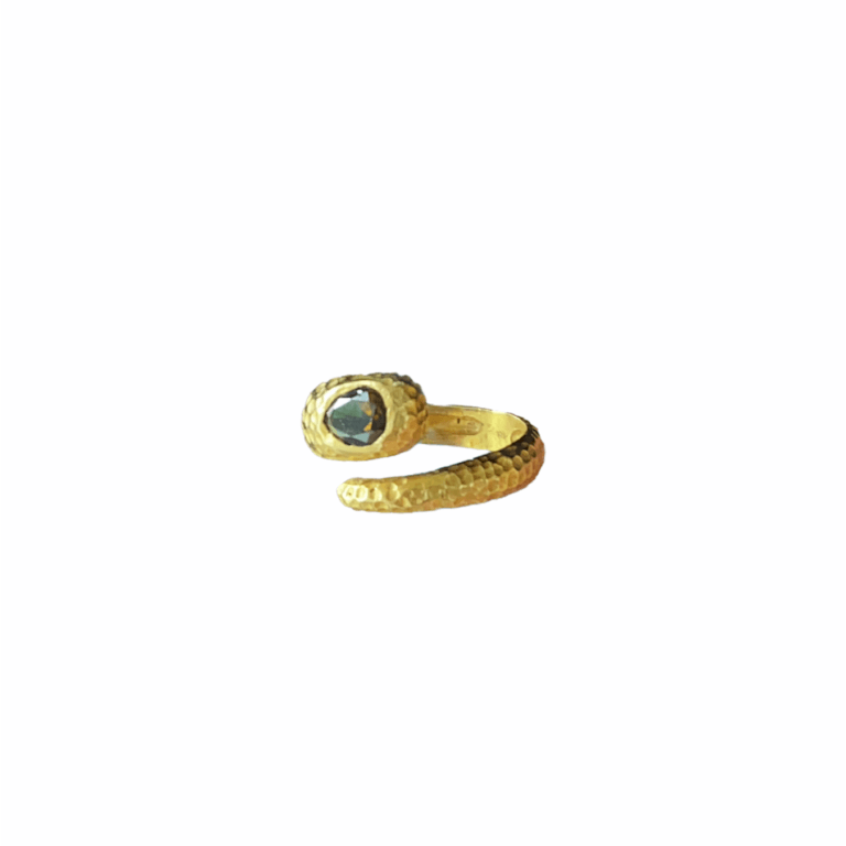 Brown Diamond Hammered Snake Ring - View 3
