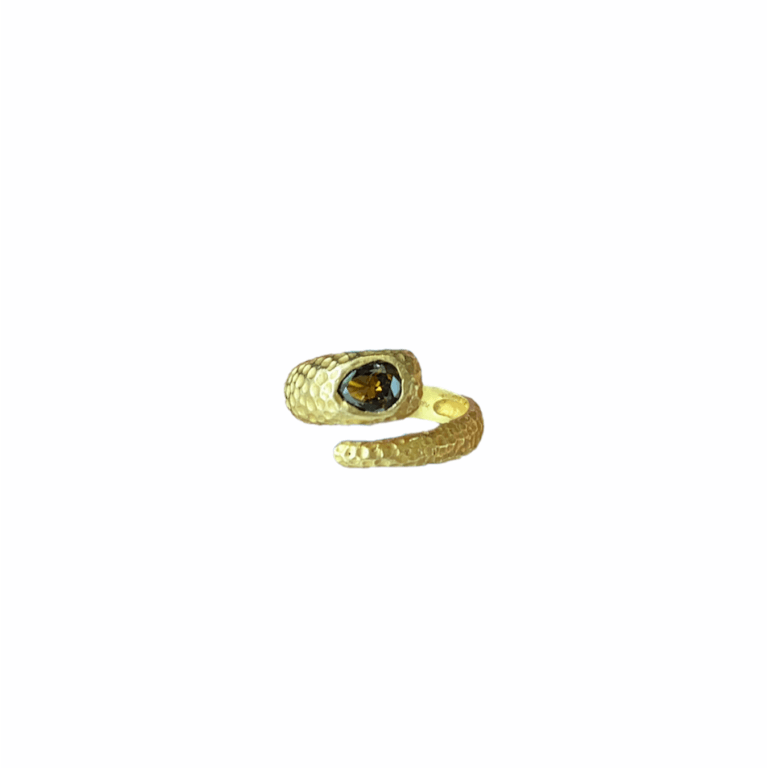 Brown Diamond Hammered Snake Ring - View 2
