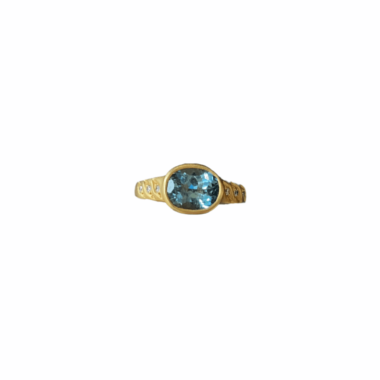 Blue Sapphire Oval Ring with Diamonds Straight on View