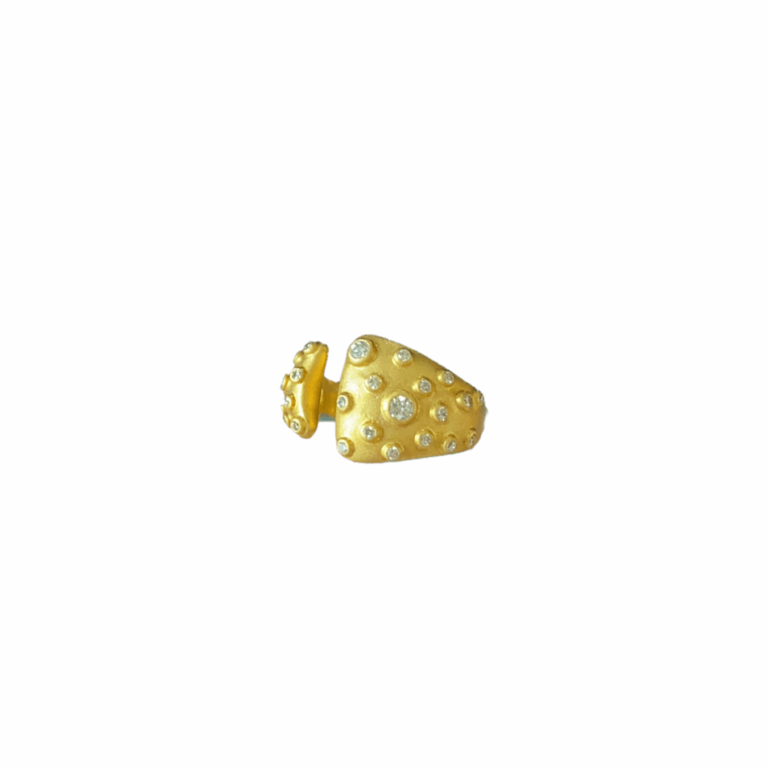 Multi-Bezel Diamond Open Ring Side View