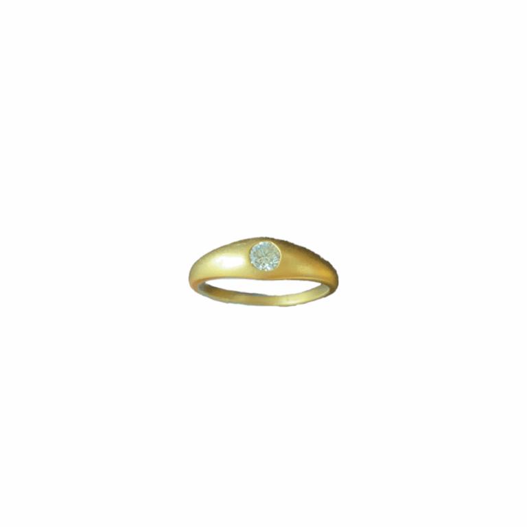 Sandblasted Band with White Diamond Ring
