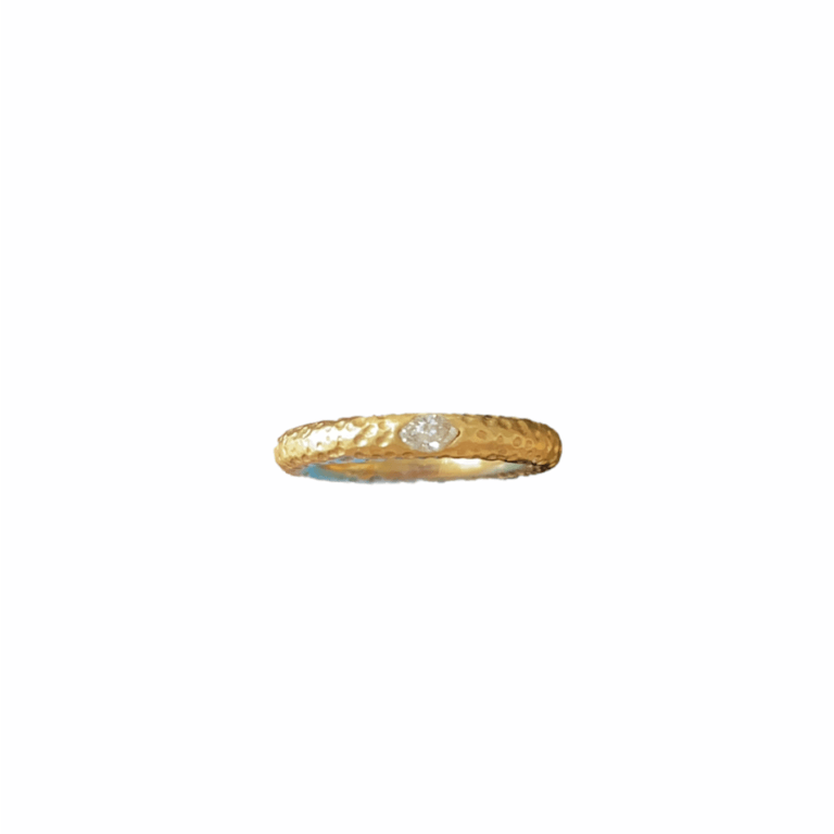Marquis Diamond on Hammered Band Ring