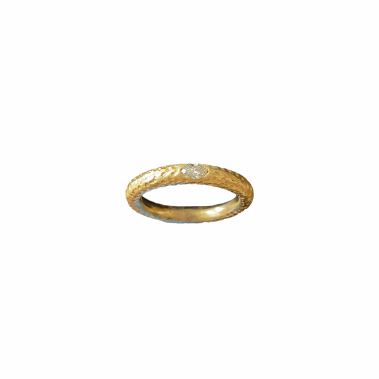 Marquis Diamond on Hammered Band Ring View 2