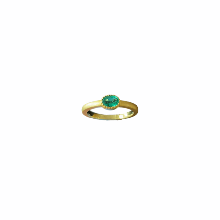 Textured Oval with Bezel Emerald Yellow Gold Ring