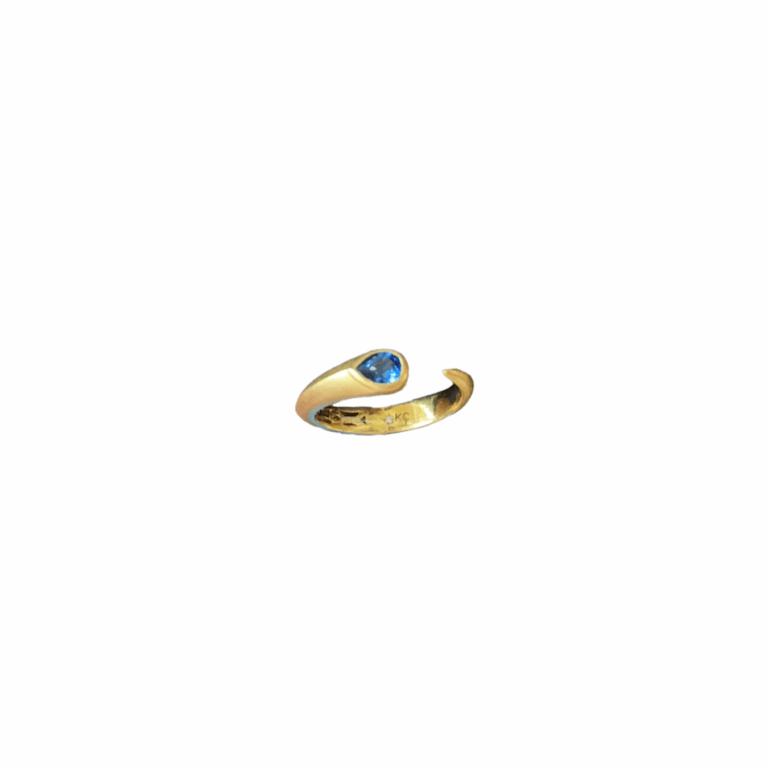 Sapphire Teardrop Open Snake Ring
