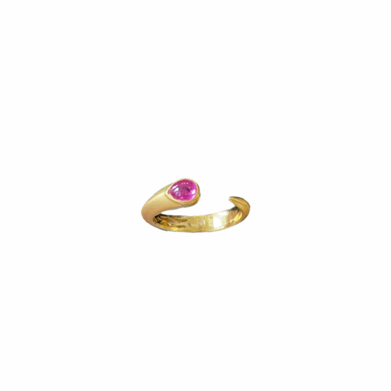 Ruby Teardrop Open Snake Ring