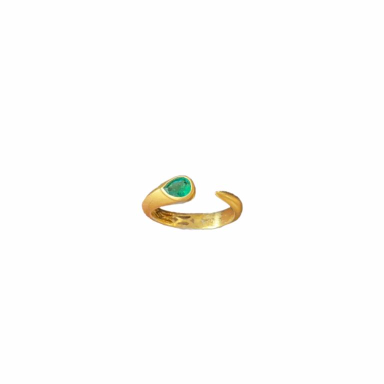 Emerald Teardrop Open Snake Ring