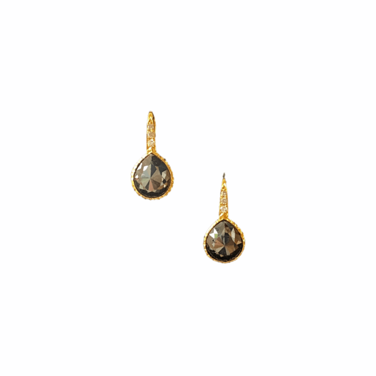 Black Diamond Bezel Earrings with White Diamonds Front View