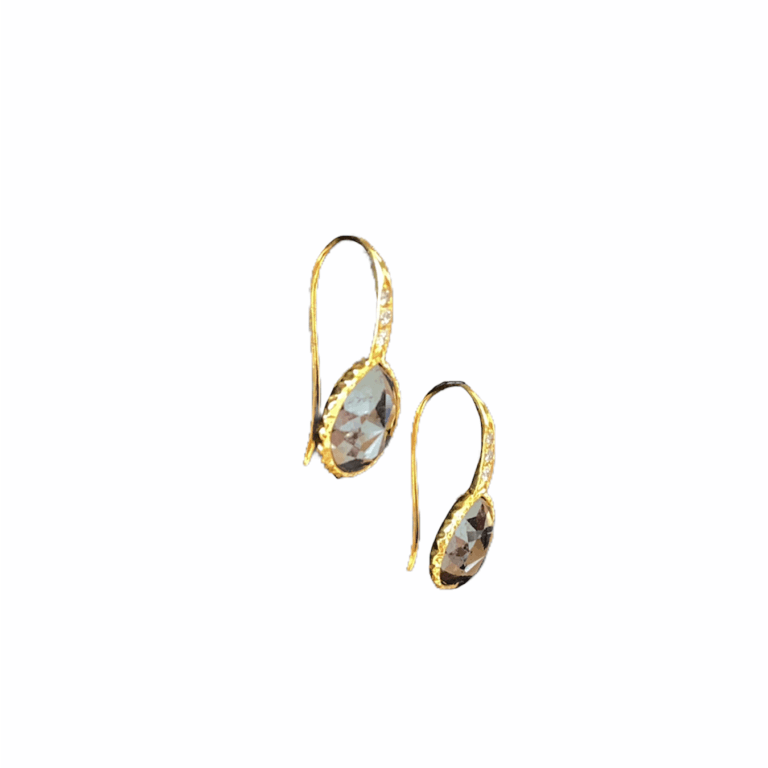 Black Diamond Bezel Earrings with White Diamonds