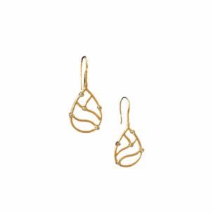 Open Teardrop & Bezel Diamond Earrings