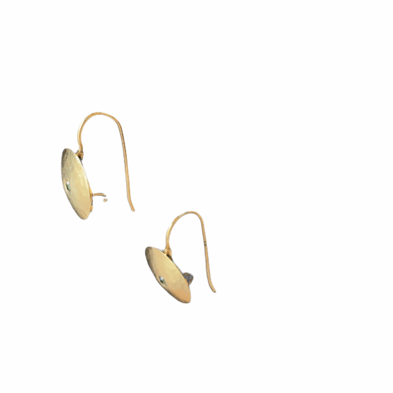 Blue Diamond Circle Shield Earrings -Side View
