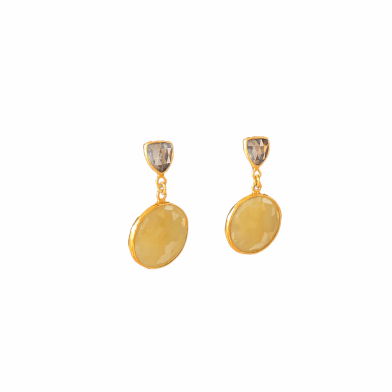 Yellow Sapphire and Diamond Earrings Side View