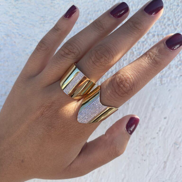 Pave Chevron Cigar Band and Diamond Line Cigar Band Rings Both New at Moondance Jewelry