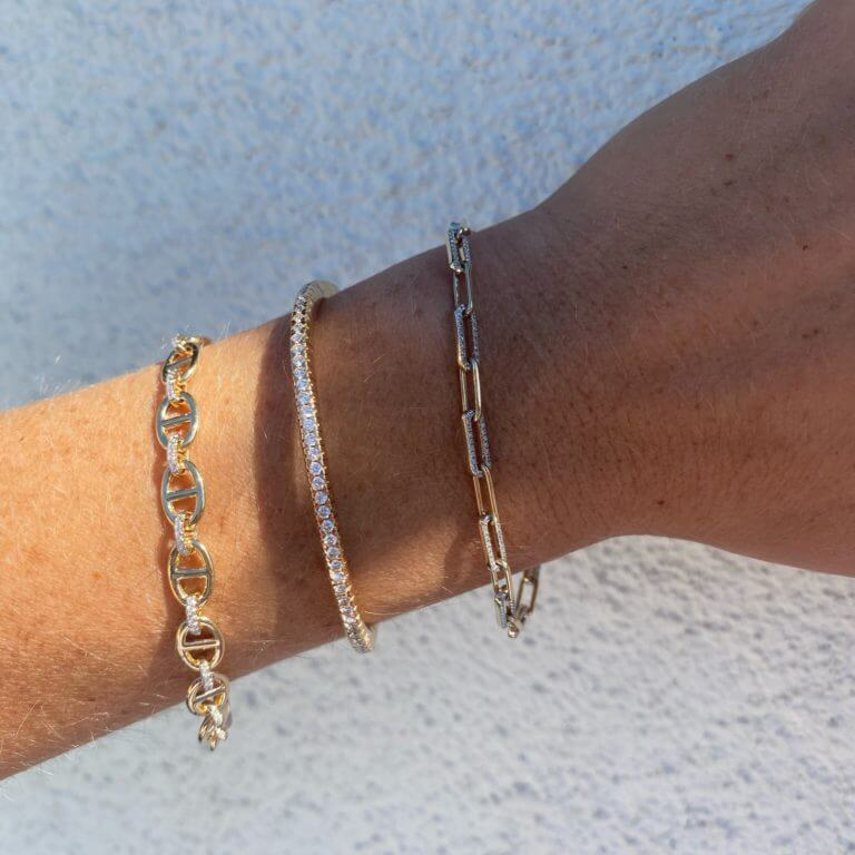 New Bracelets at Moondance including Solid & Pave Paper Clip and Diamond Link & Anchor Chain Bracelets