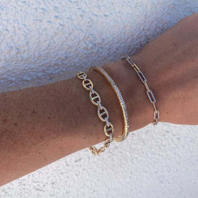 Diamond Link & Anchor Chain Bracelet and Solid & Pave Paper Clip Bracelet, both NEW at Moondance Jewelry