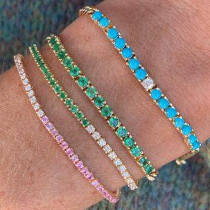 Turquoise, Emerald, Pink Sapphire and Diamond Bracelets